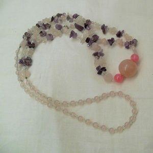 Long Amethyst Rose Quartz necklace, Big Bold